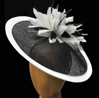 black with white accent fascinator