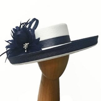 white navy derby hat