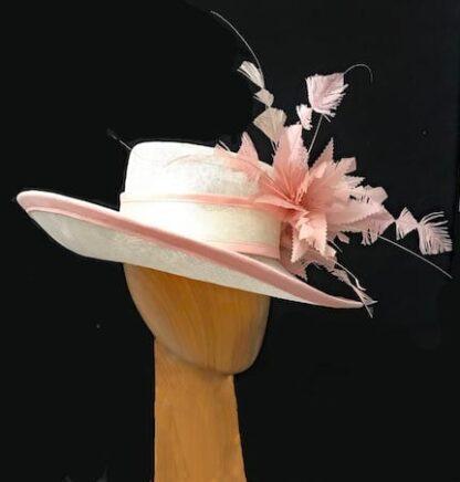 ivory pink derby hat