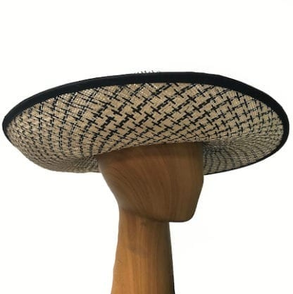 black and ivory straw hat