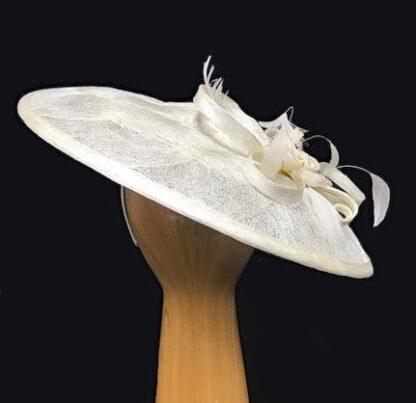 Woven sinamay ivory fascinator