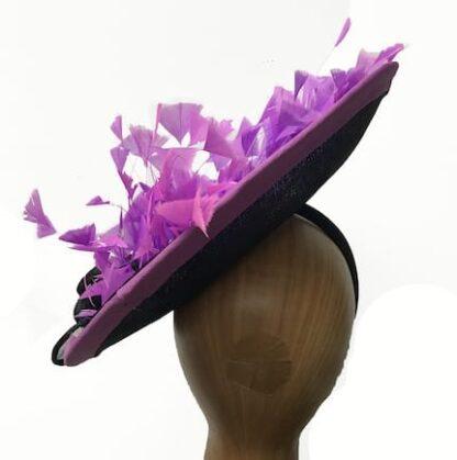 black with violet fascinator