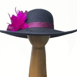 navy fuchsia straw hat
