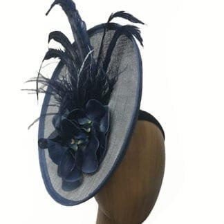 grey-blue navy fascinator