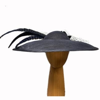 large navy feathered fascinator