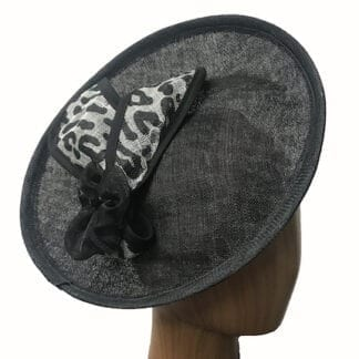 black white leopard fascinator
