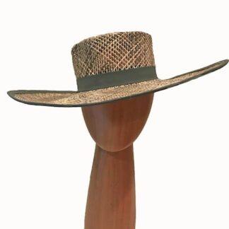 khaki olive straw hat