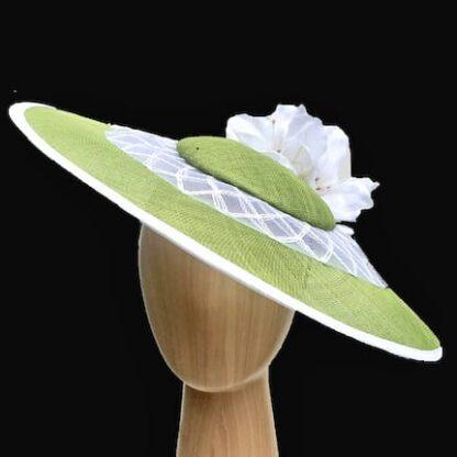Lime green white fascinator