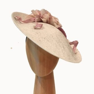ivory and lilac pink fascinator.