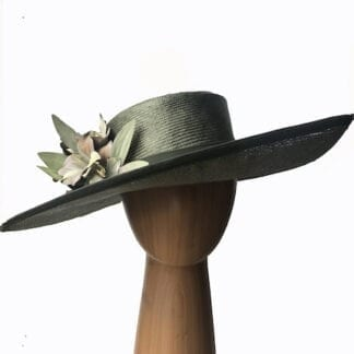 olive silk straw hat