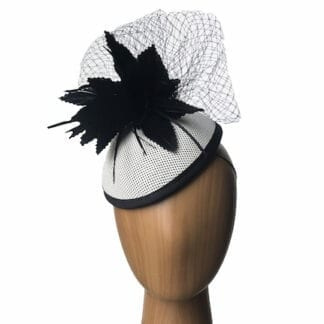 white black oval pillbox hat