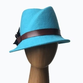 turquoise wool cloche hat