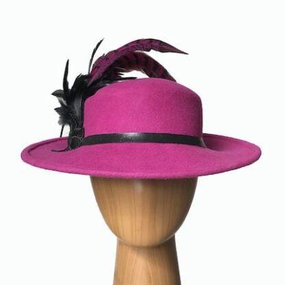 raspberry pink wool hat