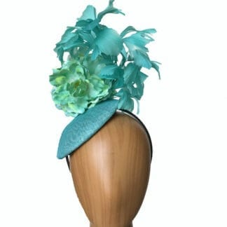 turquoise curled feathers fascinator