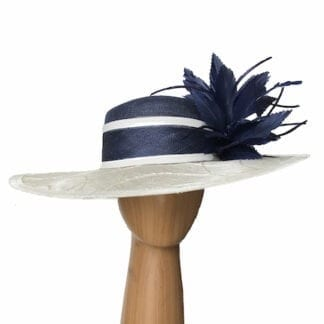 ivory navy dress hat