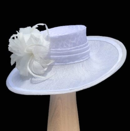 white silk sinamay hat