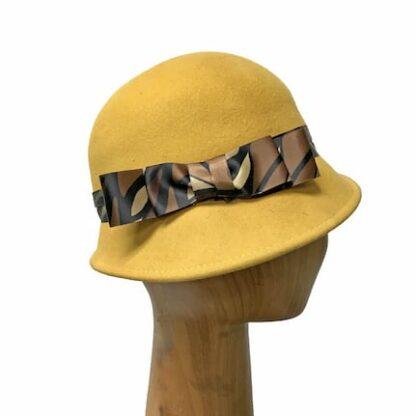 mustard yellow cloche hat