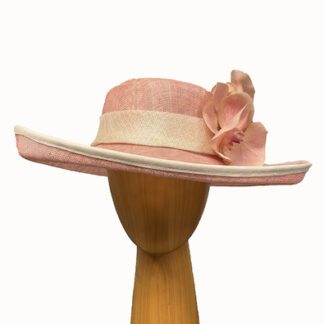 pink and ivory derby hat